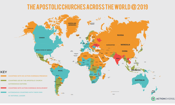 Map of Apostolic representatives in the world